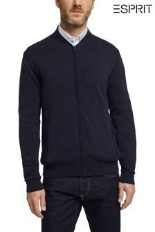 Esprit Men Blue Zip Through Knit Top