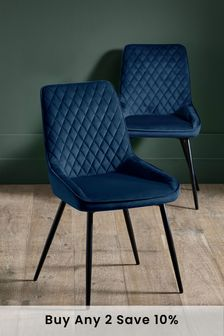 Opulent Velvet Navy Set of 2 Hamilton Dining Chairs with Black Legs