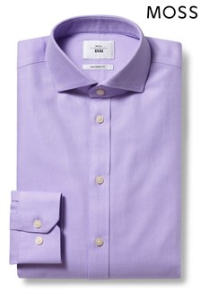 Moss 1851 Tailored Fit Lilac Single Cuff Arrow Weave Zero Iron Shirt