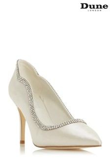 Dune London Billi Ivory Satin Diamante Embellished Wedding Shoes