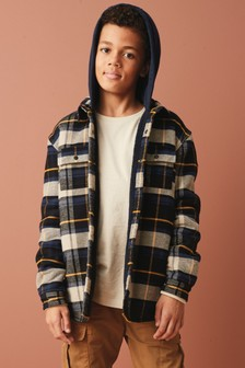 Blue Check Hooded Shacket (3-16yrs)