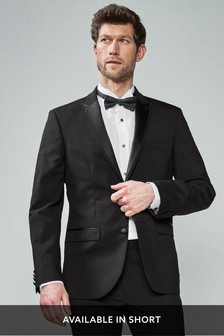 Black Tailored Fit Tuxedo Suit: Jacket