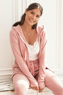 Pink Supersoft Zip Hoody Top