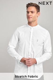 White Slim Fit Stretch Oxford Grandad Collar Shirt