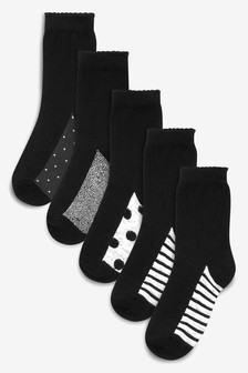 Monochrome 5 Pack Patterned Footbed Ankle Socks