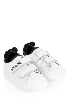 White Kids White Leather Teddy Strap Trainers