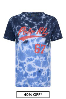 Boys Navy Tie Dye Cotton T-Shirt