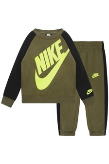 Boys Khaki Cotton Oversized Futura Tracksuit