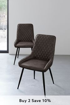 Monza Faux Leather Charcoal Set of 2 Hamilton Dining Chairs with Black Legs