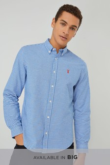 Bright Blue/White   Long Sleeve Gingham Check Shirt