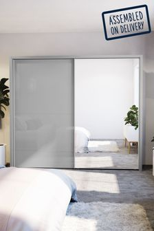 Glass Mirrored Peyton Grey Large Sliding Wardrobe