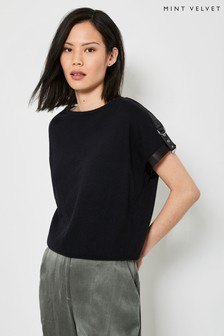 Mint Velvet Black Military Knitted Top