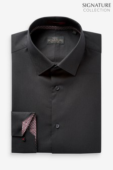 Black Regular Fit Single Cuff Signature Shirt with Geometric Trim