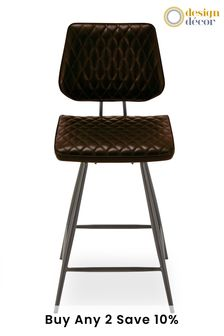 Faux Leather Dark Brown  Carson Bar Stool By Design Décor