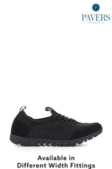 Pavers Black Ladies Extra Wide Fit Trainers