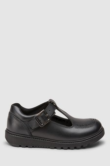 Black Leather Chunky T-Bar Shoes