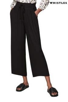 Whistles Black Textured Lightweight Trousers