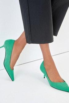 Green Asymmetric Kitten Heels