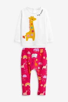 White/Pink Giraffe T-Shirt And Leggings Set (0mths-2yrs)