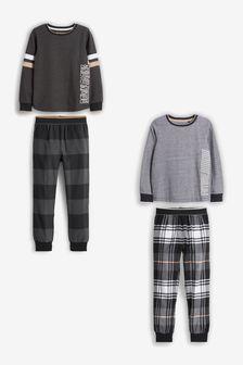 Black/White Check Pyjamas 2 Pack (3-16yrs)