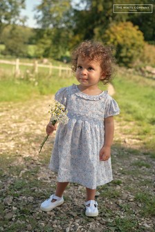 The White Company Blue Floral Smocked Dress