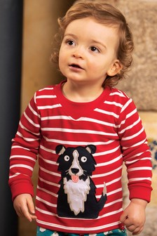 Frugi Red GOTS Organic Easy Dressing Long Sleeve Top