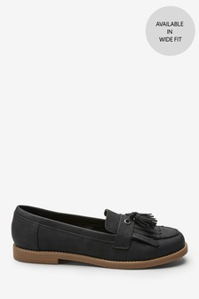 Black Crepe Sole Loafers