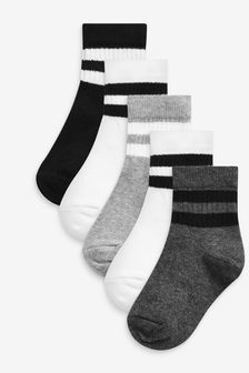Monochrome 5 Pack Ribbed Sport Socks (Younger)