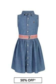 Ralph Lauren Kids Girls Blue Cotton Dress