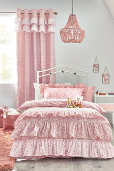 Pink Ditsy Floral Ruffle Duvet Cover and Pillowcase Set