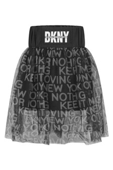 Girls Black Mesh Layered Logo Skirt