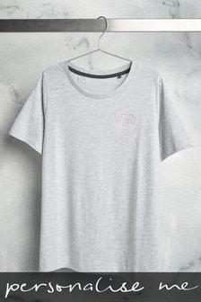 Grey Personalised Slogan T-Shirt