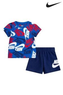 Nike Infant Blue Printed T-Shirt And Shorts Set