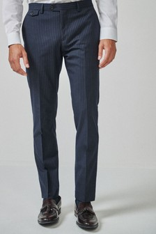 Blue Slim Fit Stripe Suit: Trousers