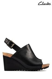 Clarks Black Leather Flex Stitch Sandals