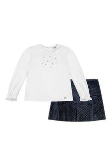 Girls Navy Glitter Shorts Set