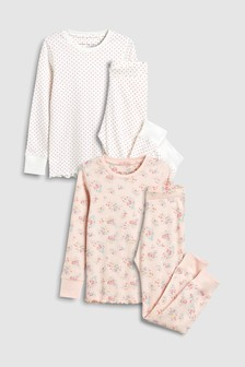 Розовый Белый Набор пижам облегающего кроя с цветочным рисунком (2 шт.) ( 3d769fd154a00