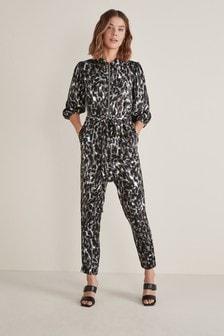 Charcoal Animal Zipped Jumpsuit