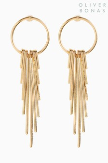 Oliver Bonas Gold Tone Aida Fine Circle And Fan Drop Earrings