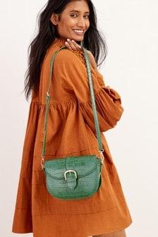 Green Croc Effect Saddle Cross-Body Bag
