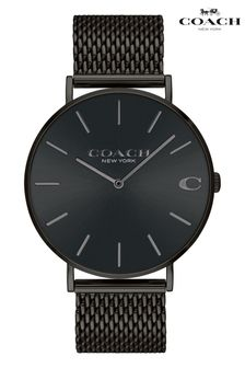 Coach Black Stainless Steel Mesh Charles Watch