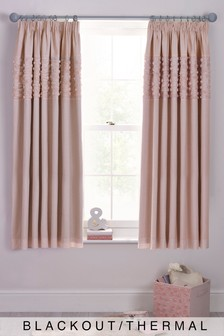 Rose Ruffle Panel Pencil Pleat Blackout Curtains