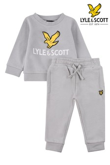 Lyle & Scott Grey Eagle Logo Crew Top And Joggers Set