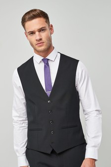 Black Wool Blend Stretch Suit: Waistcoat