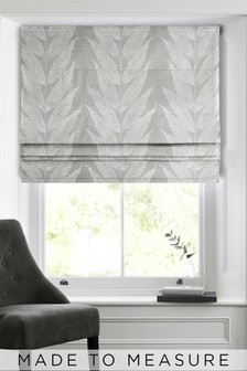 Linear Leaf Grey Made To Measure Roman Blind