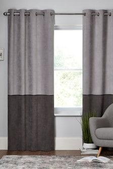 Velvet Panel Eyelet Lined Curtains