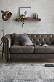 Monza Faux Leather Charcoal Alpha Large Sofa With Black Feet