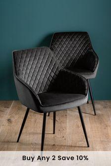 Opulent Velvet Black Set of 2 Hamilton Arm Dining Chairs With Black Legs