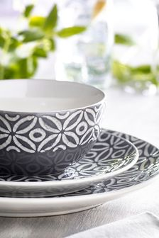 Geo Embossed 12 Piece Dinner Set