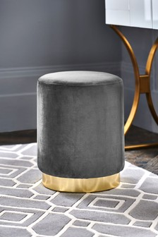 Grey Elinore Stool With Gold Base